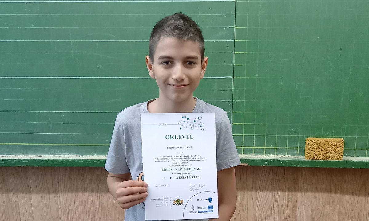 Zöld8-Klímakihívás tanulmányi verseny I. hely